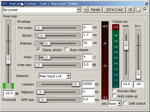 ReaComp settings - 2nd Compressor to control peaks