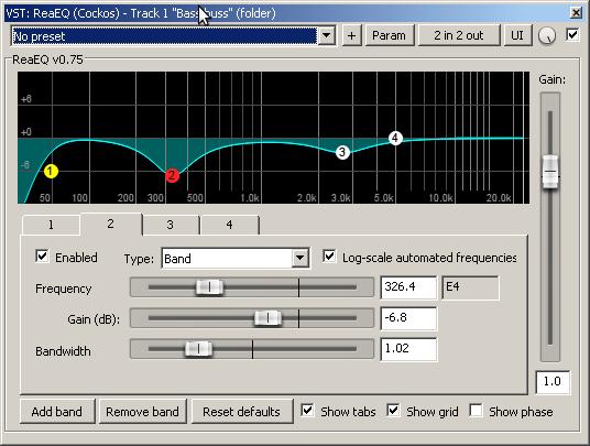 ReaEQ settings - Bass track