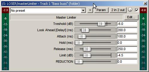 masterLimiter settings - finalizing the process