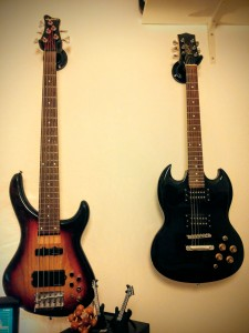 My Jackson C5MJ bass and my cheap SG guitar